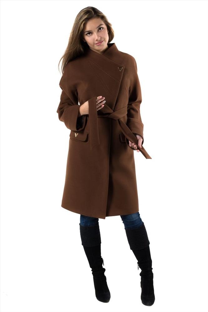 e372feea801 14-0019-09 Пальто женское демисезонное (пояс) Кашемир темный кэмел