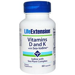 Life Extension, Vitamin D With Sea Iodine and Vita K2, 60 Capsules